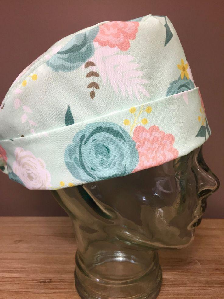Mint Floral Garden Party Surgical Scrub Hat, Beautiful Women's Flower Pixie Scrub Cap, Custom Caps Company by CustomCapsCompany on Etsy