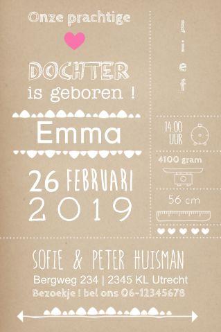Mooi typografie geboortekaartje voor een meisje. En je kunt zelf de details aanpassen!