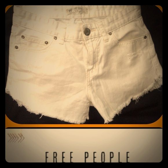 """White denim cut off daisy duke shorts Brand new but has a tiny bit of dirtyness in S small area from being tossed around , barely noticeable just need washed . 9"""" rise 2.5@ inseam Free People Shorts Jean Shorts"""