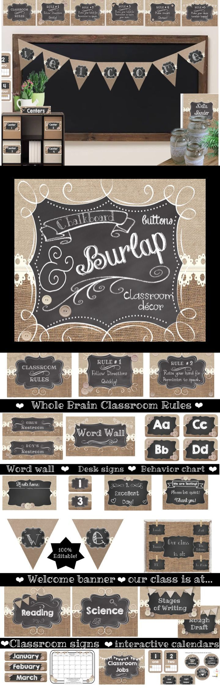 Decorate your classroom with rustic charm. Thus burlap decor set has burlap, chalkboards and unique buttons. It creates a classic look with lots of charm!