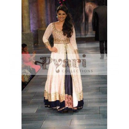 White  Blue Anarkali Dress