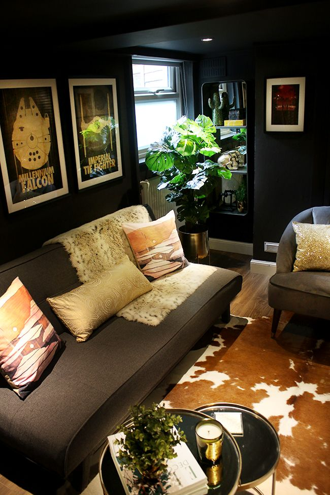 Man Cave to Glam Cave Reveal - Farrow & Ball Tanners Brown with eclectic boho glam design