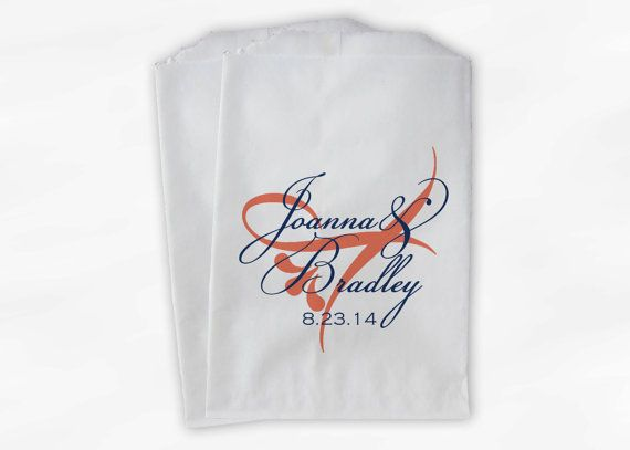 Wedding Favor Bags Coral : in Navy and Coral - Favor Bags with Bride and Groom Names and Wedding ...