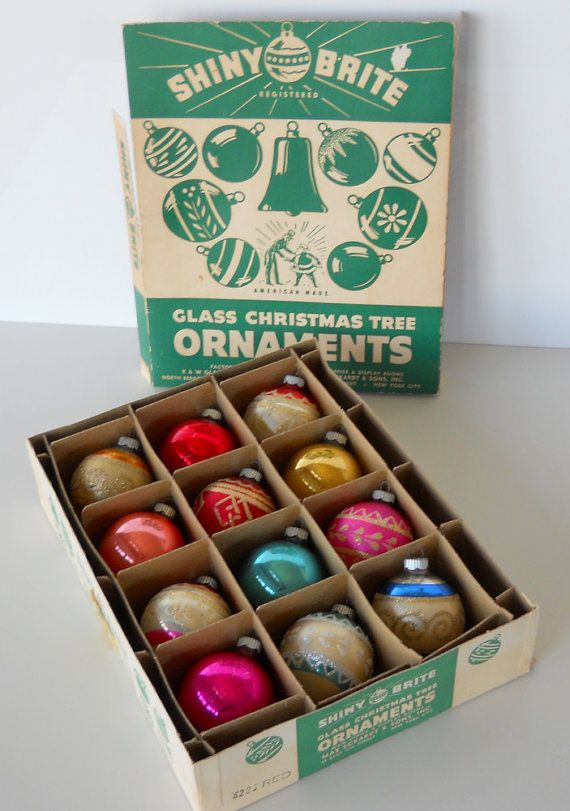 Old Fashioned Glass Christmas Ornaments Part - 27: SHINY BRITE Glass Christmas Tree Ornaments