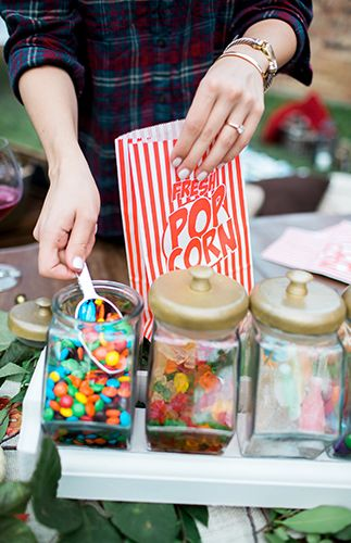 Popcorn with topping station | Backyard Fall Campfire Party via @IBTblog, pics by Aubree Edwards Photography
