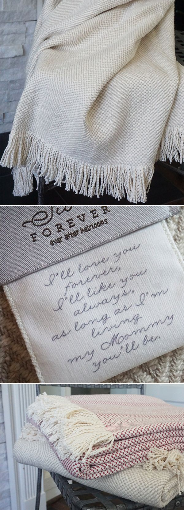 The Olivia Forever Blanket {throw} New from Swell Forever. American Made heirloom blankets for the home. Personalized message tags and monograms available. I'll love your forever. I'll like you always. 100% cotton. Machine washable. Beautiful gifts that give back. For mom, girlfriend, grandmother, sister, best friend, couples, weddings, anniversaries, mother of the bride, mother of the groom, etc. Unique gift ideas with heart. Unique bridesmade gift ideas.