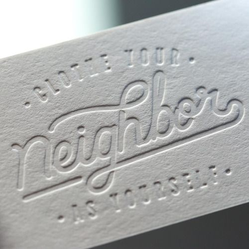 256 best business cards images on pinterest visit cards this letterpress business card was designed by for and printed on pure white clothe your neighbor as yourself turned six years old this reheart Images