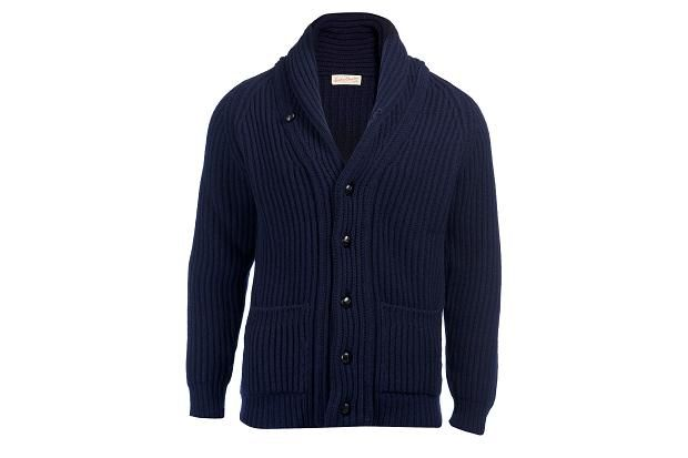 Navy shawl-collar cardigan, £225 by Scott & Charters