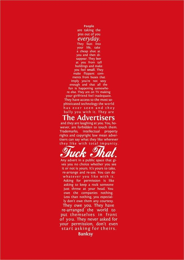 Typographic Anti-Ad Forms 'Banksy's Quote' Into The Shape Of A Coke Bottle - DesignTAXI.com