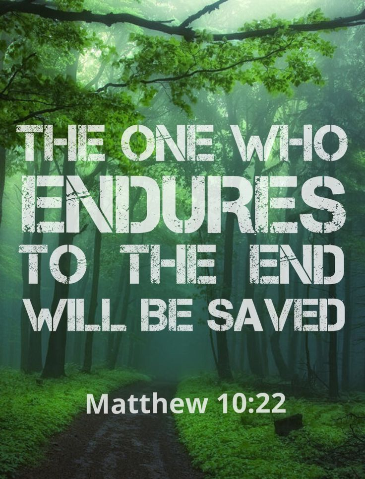 Click to READ. The one who endures to the end will be saved... not part way, or thirty five years in service and feeling like the end should've come by now because the end you were expecting was to come sooner, and no one gets swept up in a magical whirl wind some people call the rapture which isn't Biblical. It is until the end. For no human, not even Jesus, nor the angels even know when the appointed time of the end is! Matthew 24:36; Mark 13:32; Matthew 10:22; 24:13; Mark 13:13