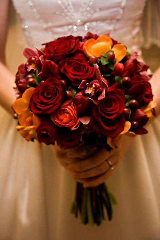 red rose and orange tulips bridal bouquet