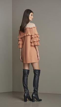 VESTIDO CREPE MANGA PLISSADA - VE29240-39 | Skazi, Moda feminina, roupa casual, vestidos, saias, mulher moderna