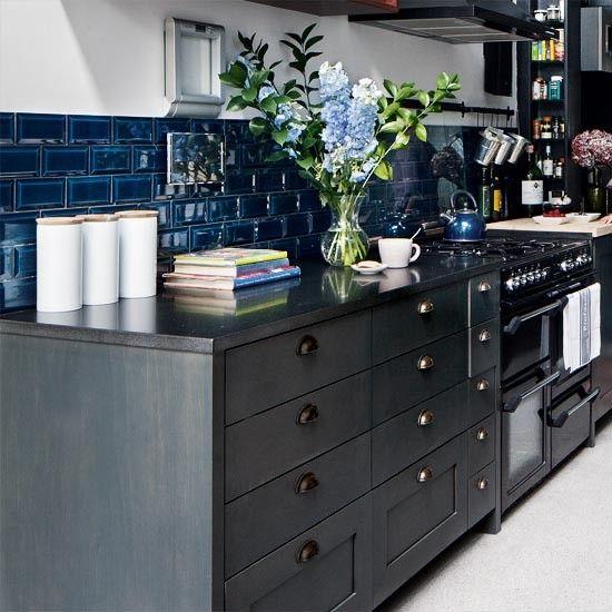 apartmentCabinets Colors, Black Cabinets, Blue Tile, Subway Tile, Black Kitchens, Blue Kitchens, Colors Schemes, Deep Blue, Blue Backsplash