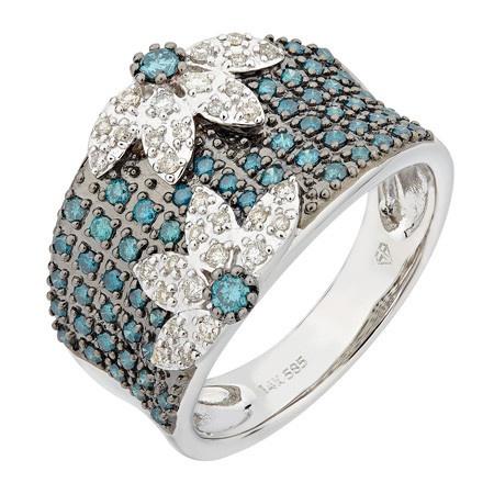 Blue Diamond Flower Ring.   Retail 1699 My Price $1199