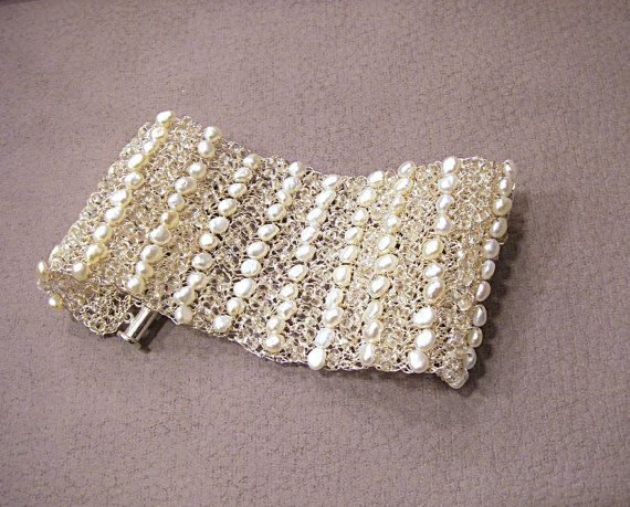 White pearl bracelet Bridal cuff Wide Wire mesh cuff by FestiJe, $117.00 #pearl #bracelet #cuff