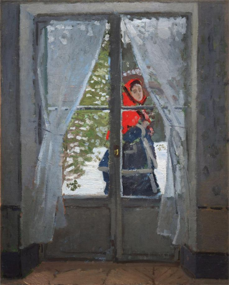 The Red Cape (Kerhief) - Claude Monet, cc. 1870, oil on canvas, 39 x 31 1/4 inches, Cleveland Museum of Art