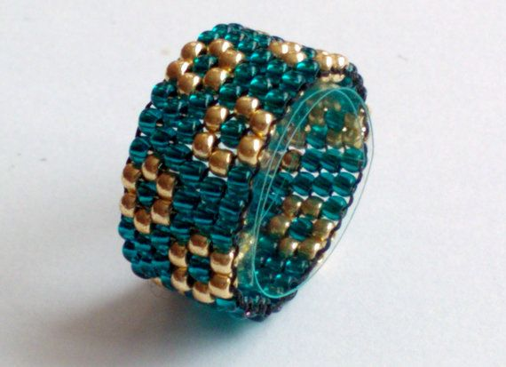 Teal Gold Toho Bead Ring