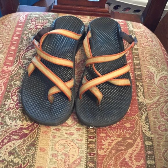 Chaco flip flops Orange and yellow thin double strap chacos Chaco Shoes Sandals