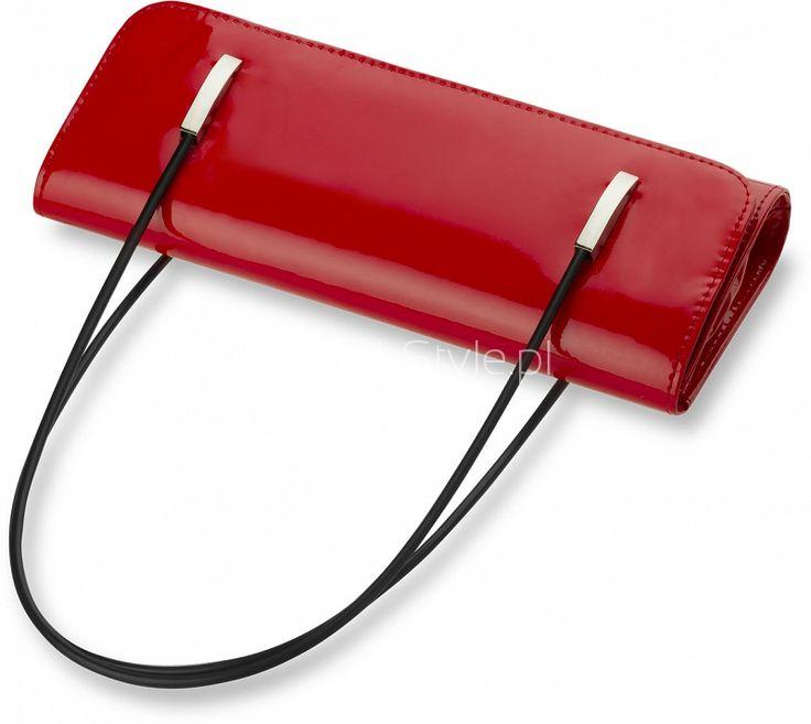 MAŁA TOREBKA DAMSKA KOPERTÓWKA LAKIEROWANA - CZARNA - Galanteria skórzana - torebki damskie, portfele, teczki, aktówki, torby, saszetki. Sklep World-Style.pl