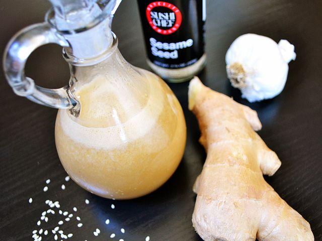 Sesame ginger dressing:  1/2 cup vegetable oil $0.64   1/4 cup rice vinegar $0.16   2 Tbsp soy sauce $0.12   2 cloves garlic $0.16   4 inches fresh ginger $1.04   3 Tbsp honey $0.36   1 Tbsp tahini $0.20   1/2 tsp toasted sesame oil $0.19   TOTAL  $2.87