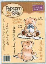 POPCORN THE BEAR unmounted rubber stamp set BIRTHDAY CUDDLES