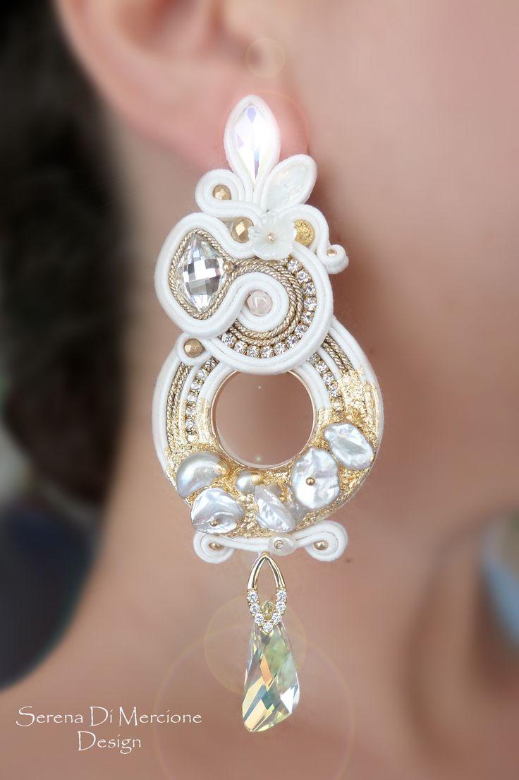 Soutache earring with materic effect, pearls, swarovski - by Serena Di Mercione