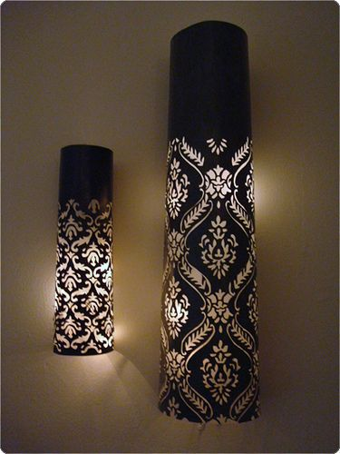 Damask paper wall lamps