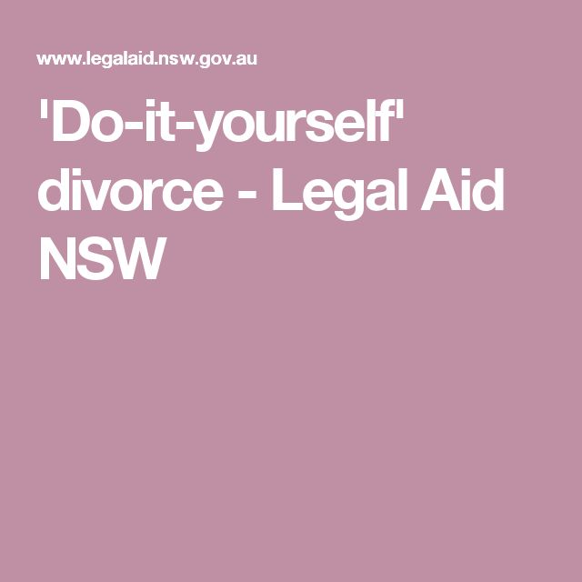 'Do-it-yourself' divorce - Legal Aid NSW
