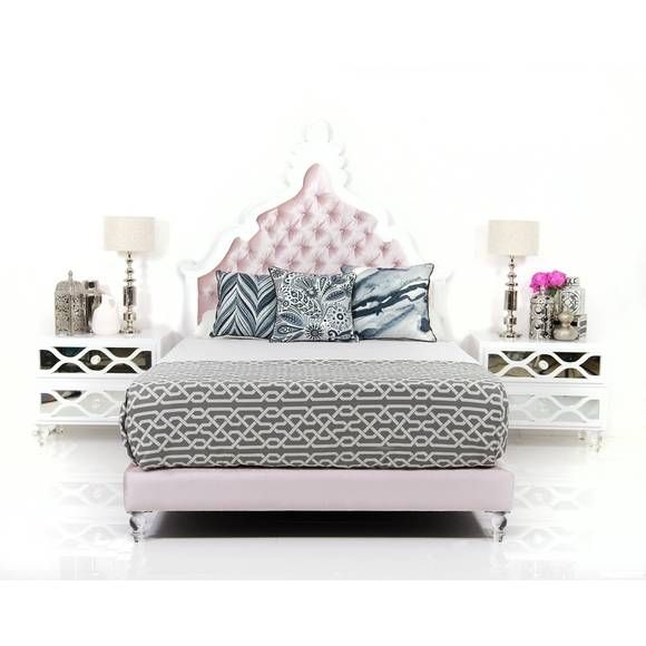 Mykonos Hand Carved Bed with Blush Velvet