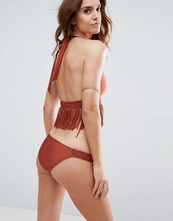 ASOS Macrame Fringed Triangle Bikini Top - Brown