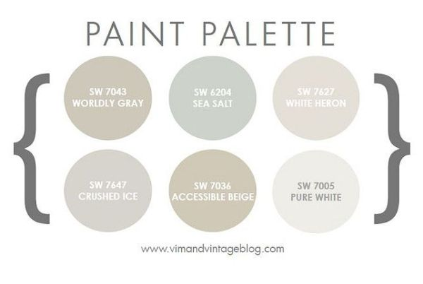 Pretty Paint Palette - Sherwin Williams Worldly Gray, Sea Salt, White Heron, Crushed Ice, Accessible Beige, and Pure White by cynthia