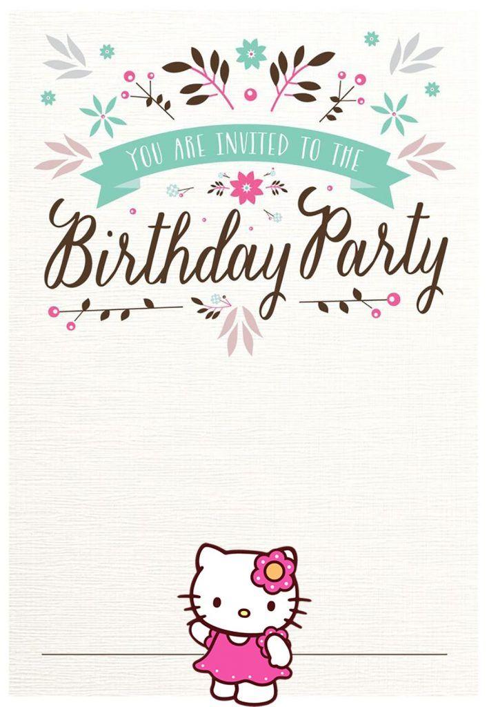Free Hello Kitty Birthday Party Invitation In 2019