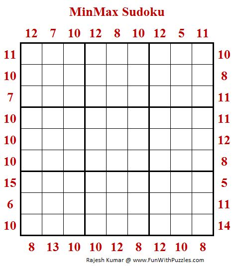 MinMax Sudoku Puzzle (Daily Sudoku League #196)