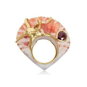 Shagreen Et Tortoise Rosy Gypsum Octopus Ring