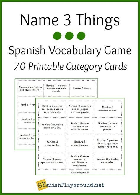 Spanish vocabulary game with free printable cards.