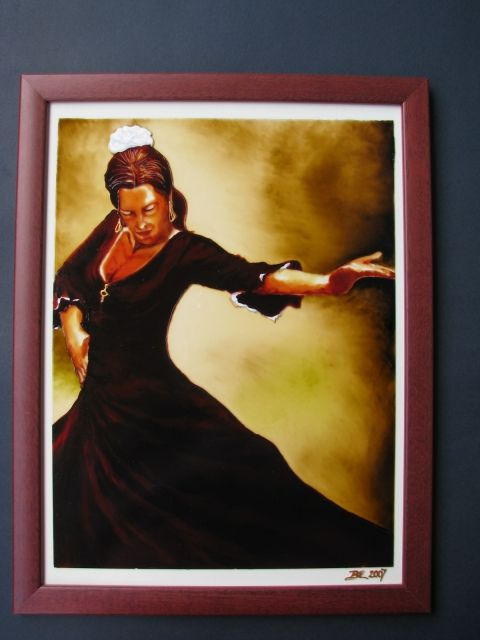 Andalúz táncos II. - festett üvegkép, exkluzív üvegfestmény www.asterglass.hu Burján Eszter 'Aster' üvegfestő művész