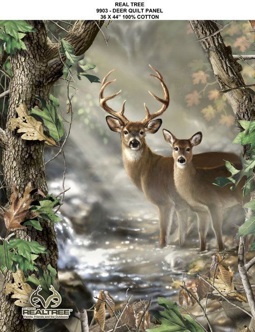 I want to live There. Serene Forest Fabric Real Tree Deer Quilt 9903 by CarolinaCottonCo, $8.99