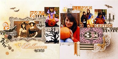 Halloween scrapbooking 2 page layout. double page. Teresa Collins Designs, Spellbinders, Memory Box, Tattered Angles