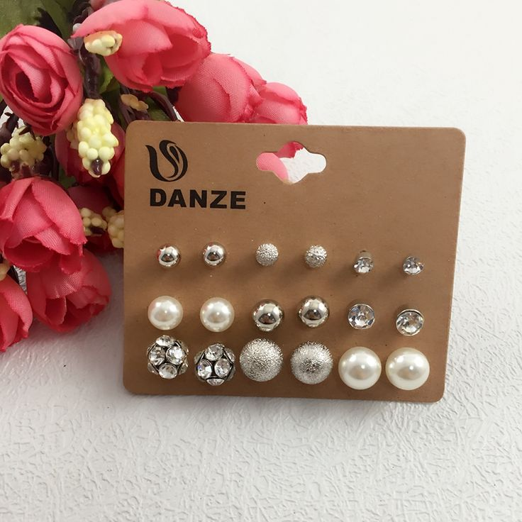 9 Pair /lot Fashion Jewelry Pearl Crystal Stud Earrings Set For Women Silver Plated Elegant Earing Wholesale