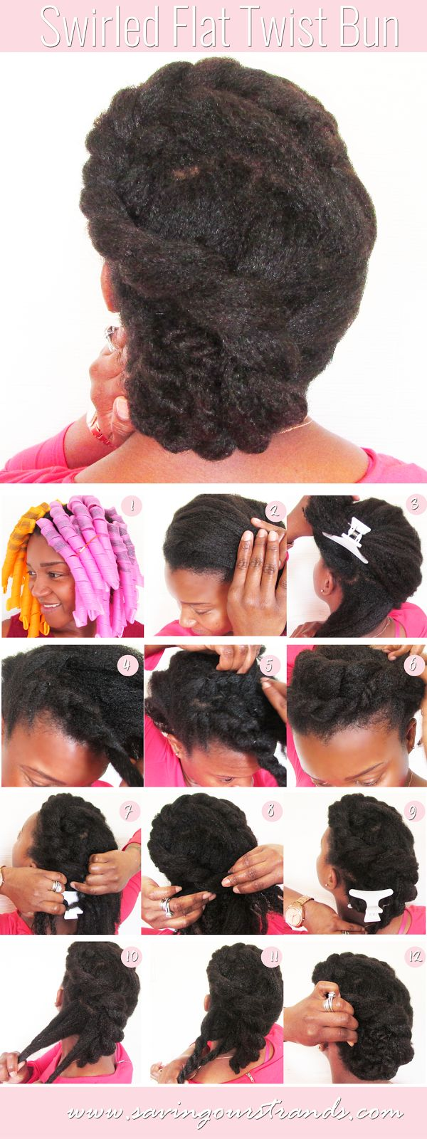 SavingOurStrands | Celebrating Our Natural Kinks Curls & Coils: [Tutorial] Swirled Flat Twist Bun for Natural Hair | The #WashDayExperience
