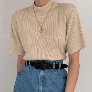 Lovely vintage sand ribbed knit mock neck top. Such a classic, chic essential pi…