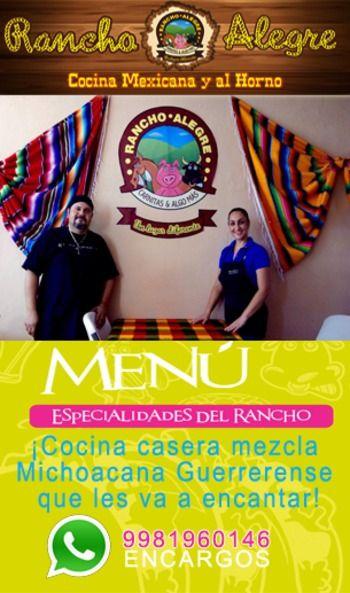 Restaurante Rancho Alegre _____________________________ Somos Restaurante 100% Méxicano, que busca satisfacer al cliente mediante recetas innovadoras con ingredientes de alta calidad, y así transformarlo en algo único para el paladar mas exigente. Pozole, chilaquiles, enchiladas, carnitas y mucho más en Cancún