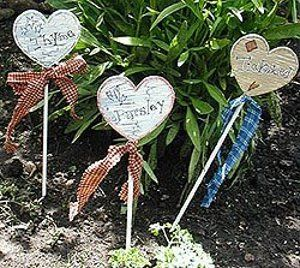 country garden plant stakes - Another good idea for marking plants and even as a house-warming gift!