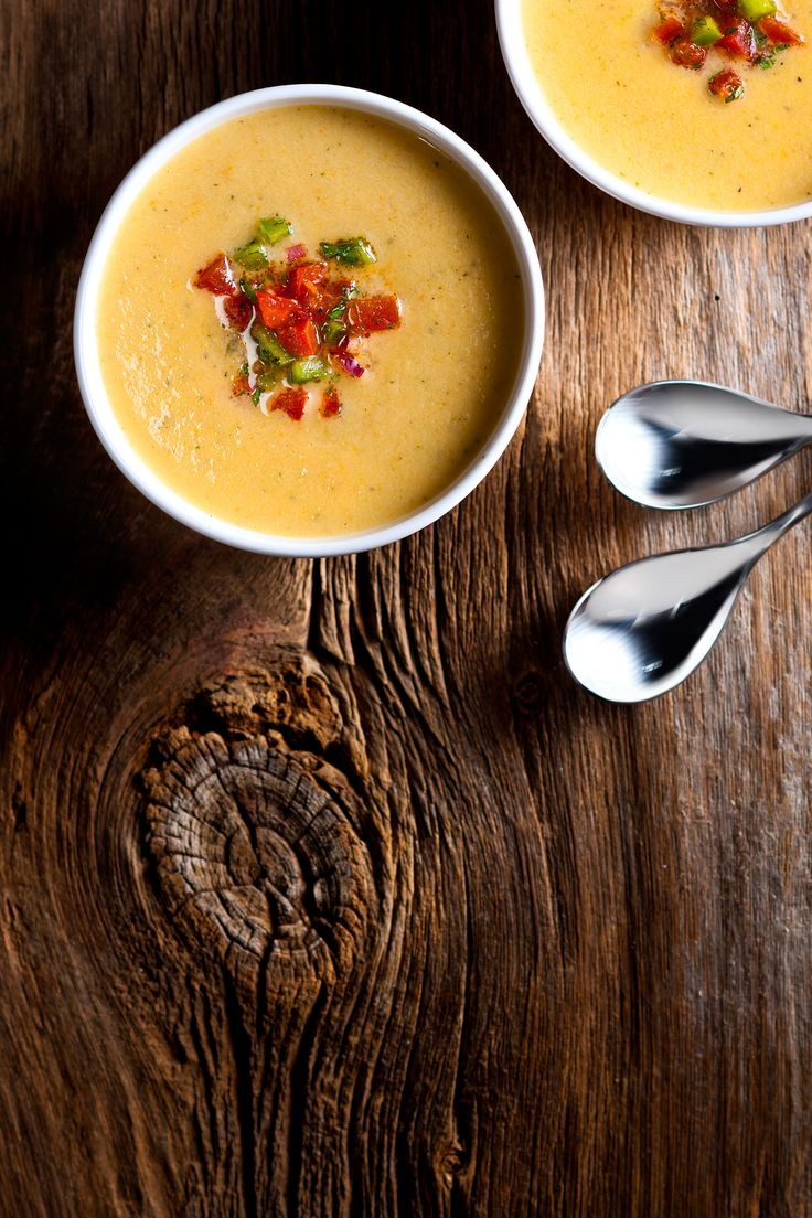 Cauliflower Cheddar Soup with Salsa: Made with Black Diamond Original Cheese Spread #spreadyourflavour