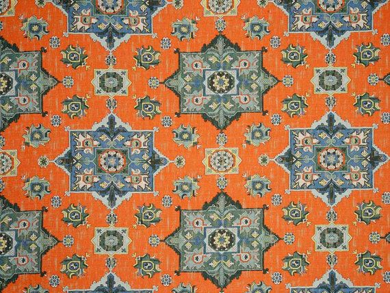 Orange Blue Woven Tapestry Upholstery Fabric   Textured Blue Grey Medallion  Fabric For Furniture   Modern Dark Orange Ikat Throw Pillows