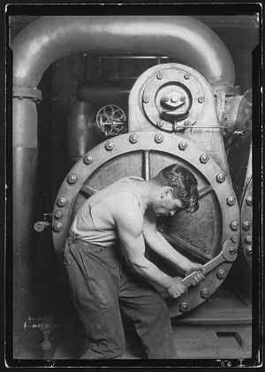 Lewis Wickes Hine (American, 1874-1940). Power House Mechanic, 1920, Gelatin silver print. Credit: Courtesy George Eastman House)