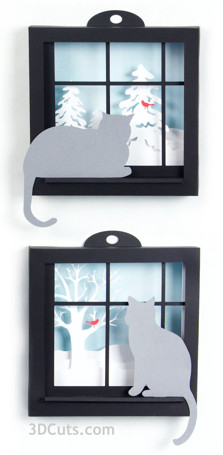 Kitty in the Window Shadow Boxes by 3dcuts, paper cutting files for Silhouette and Cricut Cutting Machines