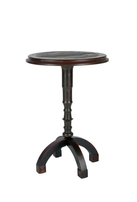 An industrial-chic update of the Queen Anne pedestal table, Barnaby conjures images of an architectural drafting stool.  Solidly crafted from birch wood, with distressed dark Java finish, this table is perfect beside a sofa or chair in traditional and transitional rooms. Assembly required. #amh4040a #Safavieh #Furniture