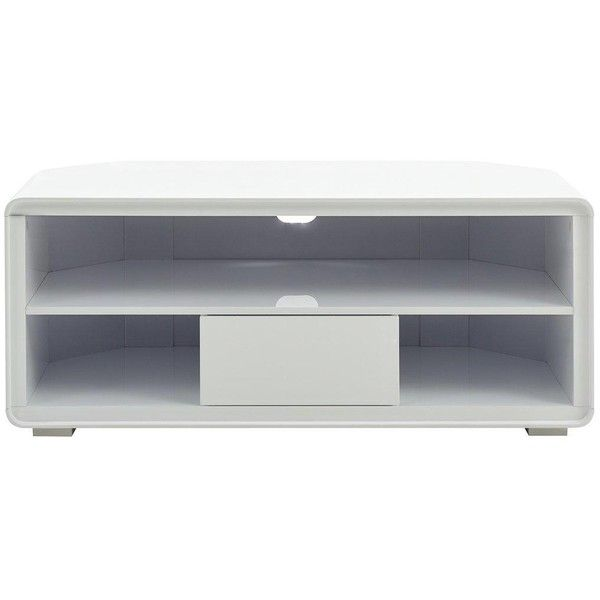 Cosmos Curved High Gloss Corner Tv Unit ($175) ❤ liked on Polyvore featuring home, furniture, storage & shelves, entertainment units, rectangular storage baskets, adjustable shelving, dvd shelves, dvd storage shelves and storage shelves