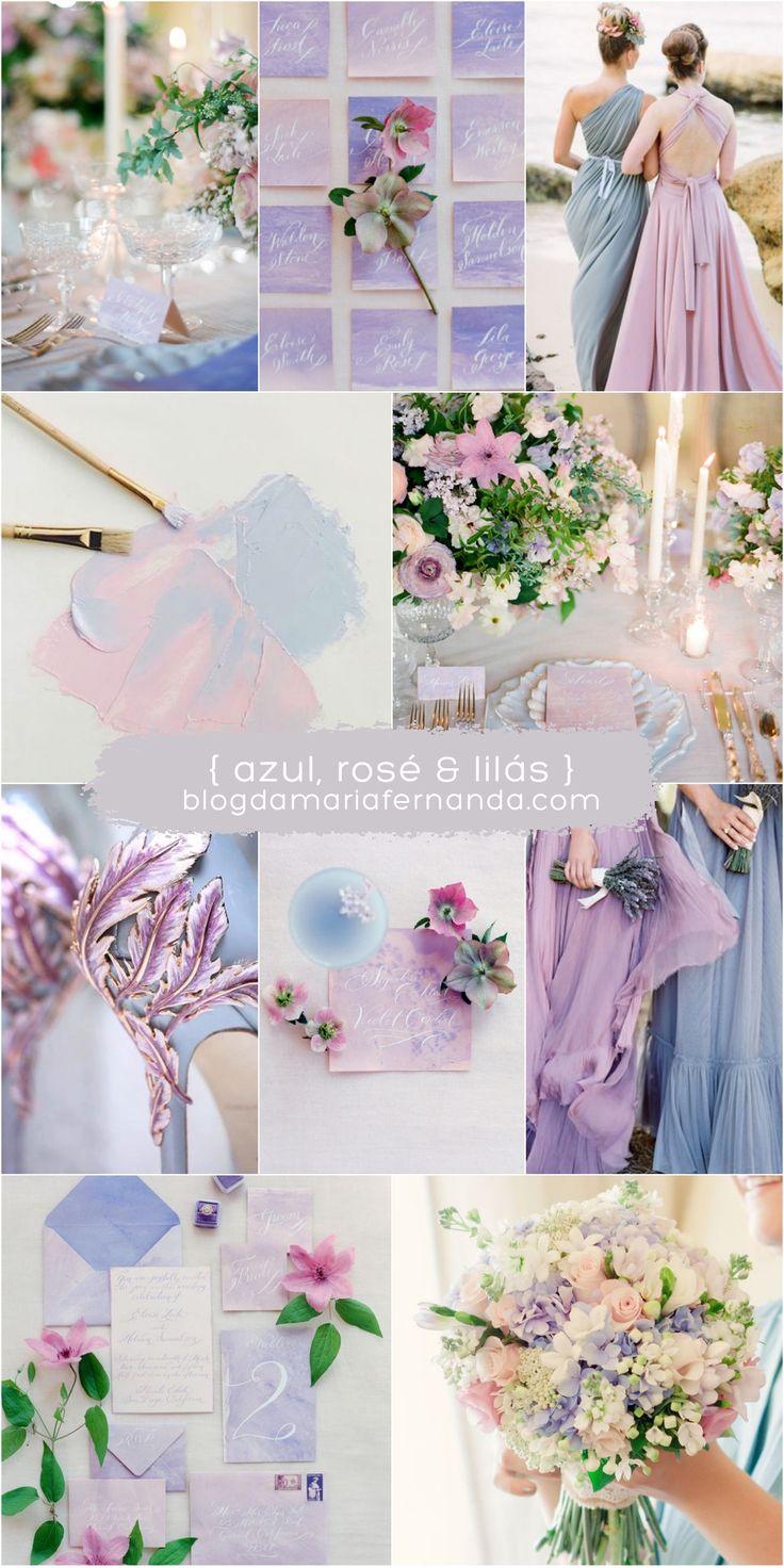 Decoração de Casamento : Paleta de Cores Azul, Rosé e Lilás | Blog de Casamento DIY da Maria Fernanda